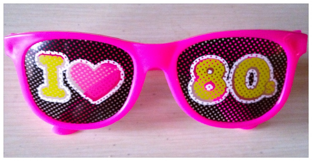 "hot pink, ""I love the 80s"" sunglasses"